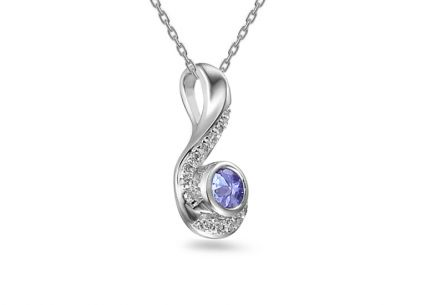 Pendente in oro bianco con diamante da 0,040 ct con tanzanite