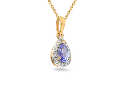 Pendente in oro con tanzanite e diamanti Mayte da 0,010 ct