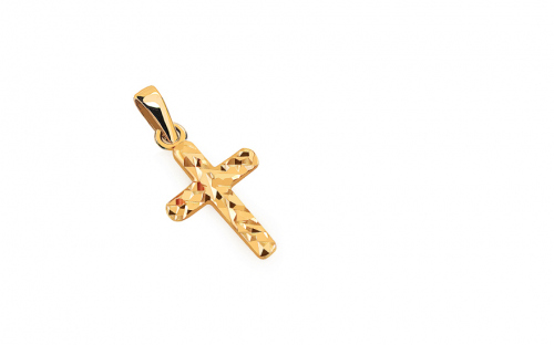Pendente in oro croce con incisione - IZ13905