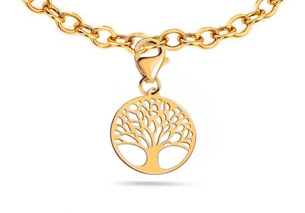 Ciondolo in oro con moschettone Tree of Life 2